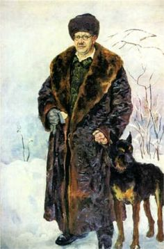 Self-portrait with dog - Pyotr Konchalovsky 1933