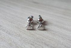 Triangle Stud Earrings Trend Screwback Earrings by RedSilverStudio