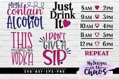 These free drinkware svg files will look great on water bottles, wine glasses, and even mugs. These free SVGs are perfect to use with Silhouette or Cricut. svg files for cricut quotes Free Drinkware SVG Files - My Designs In the Chaos Water Bottle Tracker, Thermos, Wine Glass Sayings, Cricut Svg Files Free, Cricut Tutorials, Cricut Ideas, Cricut Craft Room, Water Bottle Design, Cricut Design