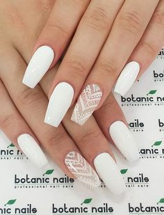 Even with the simple whit nail polish, you can actually see how stunning it would make you look like. But you can accentuate your nail art with a great pattern and a diamond stone.