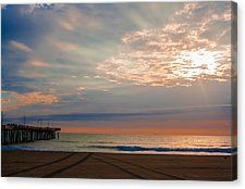 Virginia Beach at sunrise. For all those that love early mornings, the beach, the ocean and the shore. Great canvas for your home, office, or business. Fine art photography by 3QuartersImages