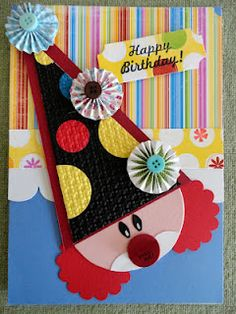 Clown face pull tab birthday card
