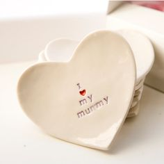 Cute Mother's Day Gift - I love my mummy porcelain heart dish  by Diana Parkhouse