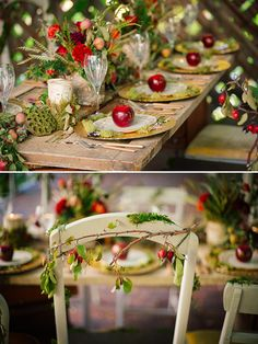 whimsical fairytail themed wedding table. possible enchanted forest feel with some red in it....