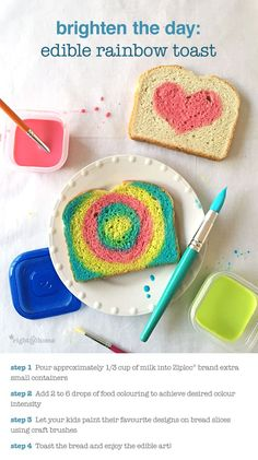 Brighten the day with this edible rainbow toast!  It's a great wintry-day activity with the kids!