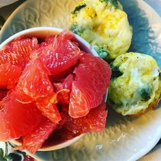 Broccoli  mozzarella cheese  egg  cups and grapefruit. #weightlossideas #healthybreakfastideas #300calories #proteinbreakfast