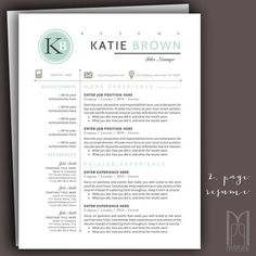 Resume Template and Cover Letter Template by MYPAPERPIG on Etsy Modern Resume Template, Creative Resume Templates, Cv Template, Resume Writing Tips, Thank You Letter, Cover Letter Template, Professional Resume, Positivity, Lettering