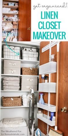 Get organized! This linen closet makeover features an adjustable over the door organizer for cleaning supplies, plus baskets and boxes to organize AND there's room to store the vacuum. #Home #Organized #LinenCloset
