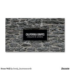Stone Wall Standard Business Card #winetasting #sommelier #vineyard #wine #winery #businessowner #liquorstore #boutiqueshop #rustic