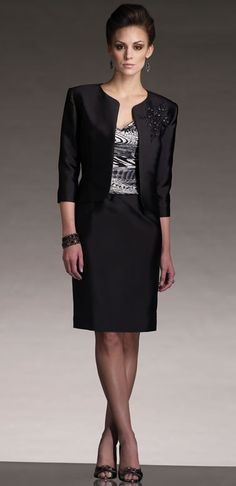 Black Mother of the bride Dress Suit | Short Mother of the Groom Ensemble |