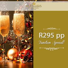 There is still time to book for our fantastic function special! Book now and pay R295 PP. Offer includes full Christmas buffet, venue hire, centre pieces and more. Book now http://www.accolades.org.za/function-specials/