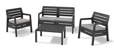 Allibert by Keter Delano Outdoor Furniture 4 Seater Lounge Set - Graphite with…