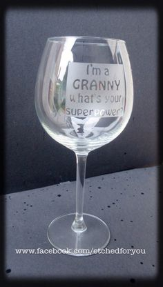 Personalised etched wine glass