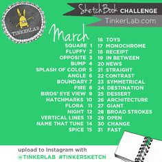 Art Challenge Sketchbook challenge from - Daily creative prompts for the month of March for your sketchbookSketchbook challenge from - Daily creative prompts for the month of March for your sketchbook