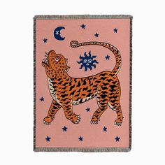 Tiger Temple Pink Woven Throw by Camille Gressier Textiles - Fy Tiger Blanket, Tiger Temple, Tiger Art, Square Art, Art Inspo, Textiles, Embroidery, Art Prints, Wall Art
