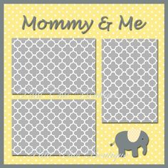 Cute digital download! Mommy and Me Baby Premade Page 12x12 Yellow (baby digital 12x12 scrapbook page layout, digital scrapbooking)