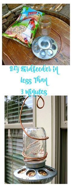 DIY Birdfeeder in Less Than 3 minutes. Mason jar bird feeder.