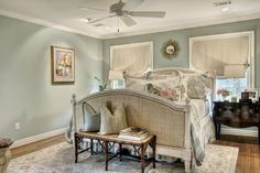 French Country master bedroom - Like everything except flower patterns.