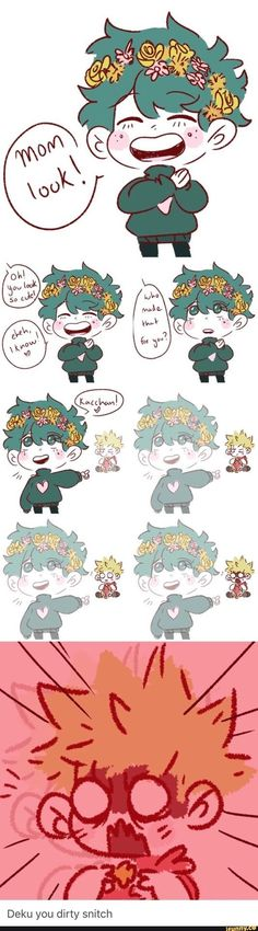 Boku no Hero Academia This is adorable, bakudeku, kacchan and deku flower crown My Hero Academia Shouto, Hero Academia Characters, Boku No Hero Academia Funny, Boku No Academia, Bakugou And Uraraka, Hotarubi No Mori, Deku X Kacchan, Wattpad Fanfiction, Animes Wallpapers