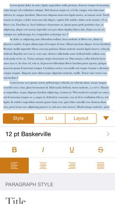 Pages app. Scroll view contains multiple elements. Segment bar breaks up number of elements per tab. Top part of screen provides editing context. Ux Design, Design Trends, Pattern Design, Text Editor, Ui Patterns, Mobile Ui, User Interface, Lorem Ipsum, Typography