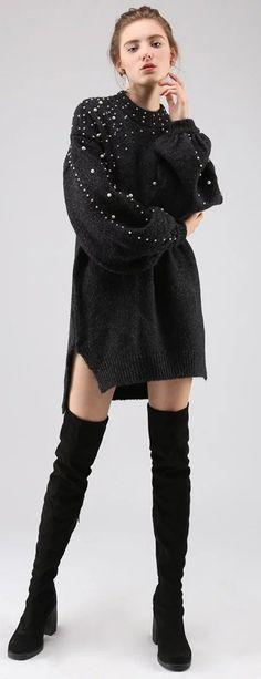 Radiant Pearls Knit Longline Sweater in Black/Grey/Tan