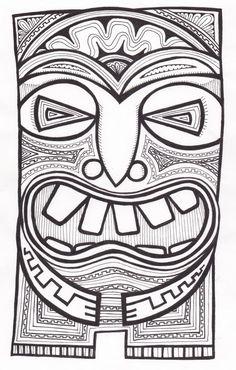 Stitchlily: How to draw a Tiki Head! Tiki Maske, Tiki Faces, Tiki Head, Shetland, Tiki Totem, Posca Art, Tiki Art, Hawaiian Art, Maori Art