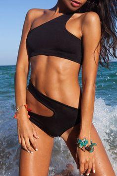 Solid Color One Shoulder Asymmetric Bikini Set
