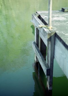 Green pond, dock, ladder - nature photography - water, weathered wood, rippled water reflections, fine art photography - Pond and Ladder on Etsy, $15.00