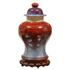 "A wonderful example of Chinese ""Flambe"" 19th c. in unusual Temple Jar shape"