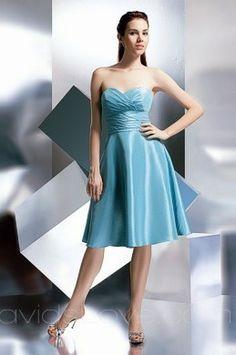 Sweetheart Tea Length Taffeta Bridesmaid Dress
