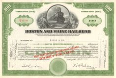 Boston and Maine Railroad collectible stock certificate Wonderful train vignette makes this piece a great gift idea. Money Frame, Pick Axe, East Wind, Transportation Industry, Railroad Companies, Common Stock, New Boston, Old Things, Things To Come