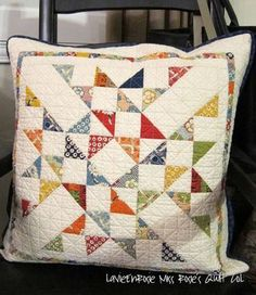"""Baccarat Pillow, Block Size x Single block from pattern Baccarat, """"Traditional Fat Quarter Quilts"""" by Monique Dillard. Caution: One of the middle-of-the-star half-triangle squares is turned the wrong way ! Patchwork Cushion, Quilted Pillow, Small Quilts, Mini Quilts, Quilt Block Patterns, Quilt Blocks, Handmade Pillows, Decorative Pillows, Quilting Projects"""