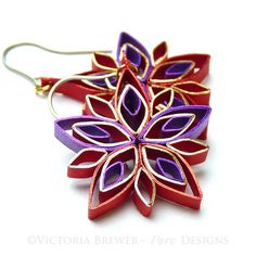 Christmas earrings Eco-friendly quilled snowflake. Quilling paper jewellery, jewelry. Design and photo Copyright ©Victoria Brewer - Pure Designs. All rights reserved. Copying prohibited.