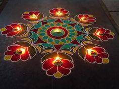 Beautiful rangoli designs for diwali. This is very easy and simple rangoli. Easy Rangoli Designs Diwali, Colorful Rangoli Designs, Rangoli Ideas, Diwali Rangoli, Beautiful Rangoli Designs, Simple Rangoli, Diwali Craft, Indian Rangoli, Rangoli Borders