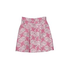 tibi Skirts Pink and Silver Brocade Skirt - StyleCaster ❤ liked on Polyvore featuring skirts, bottoms, pink skirt, tibi skirt, silver skirt, tibi and brocade skirt
