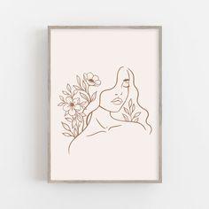 Crown Art, Line Drawing, Printable Wall Art, Female Art, Art Inspo, Art Drawings, Art Projects, Canvas Art, Art Prints