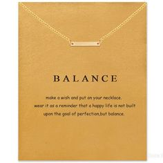 Remind your self to live a balanced life through this beautiful affirmation necklace!
