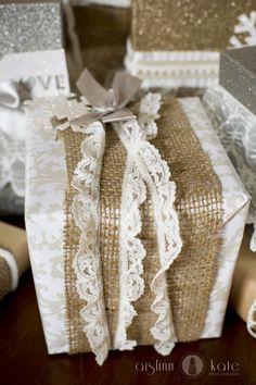 Burlap, Lace wrapping, Vintage Christmas | Pensacola Photographer