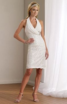 Mon Cheri Destinations Short Halter Second Wedding Dress- Chiffon and re-embroidered lace knee-length slim A-line destination wedding dress with halter neckline, Empire crisscross bodice features side hand-beaded jeweled motif, lace skirt with scalloped hemline and back slit. elegant for any destination