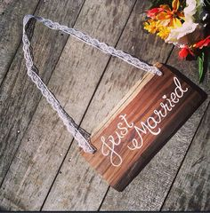Just married rustic wedding sign hand painted on reclaimed wood on Etsy, $24.00