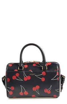 Saint Laurent 'Baby Duffle - Cherry Print' Leather Crossbody Bag available at Saint Laurent Handbags, Yves Saint Laurent Bags, Leather Crossbody Bag, Leather Handbags, Louis Vuitton Cherry Blossom, Cute Purses, Printed Bags, Louis Vuitton Speedy Bag, Purses And Handbags