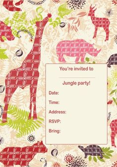 Jungle Party Invitation - Boys Birthday Party Theme Invitation Ideas - Lifestyle | OHbaby! free downloadable printable