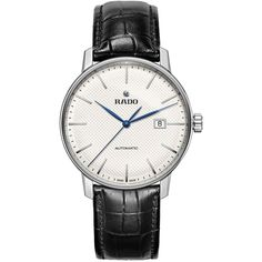 Rado Couple Classic Round Leather Strap Automatic Watch ($1,200) ❤ liked on Polyvore featuring men's fashion, men's jewelry, men's watches, black, men's blue dial watches, mens diamond bezel watches, mens white dial watches and mens leather strap watches