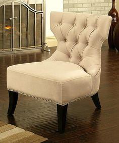 Abbyson Living - Light Cream Microfiber Suede Sedona Chair
