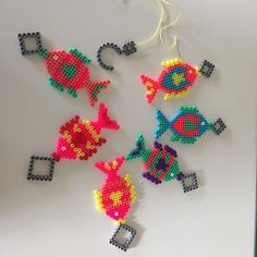Fishes perler beads by handmadeby.dk