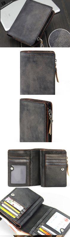 Handmade men short leather wallet men vintage brown gray short wallet for him