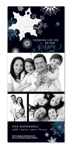 Custom Holiday Photo Cards : Joy Of The Season. Your photos printed on thick recycled cardstock, paired with a seed paper ornament that is packed with wildflower seeds that your friends and family can plant after they hang it from the tree. Just send your high-res photos