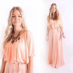 Vtg 70s Flowing Peach Party Cocktail Wedding Maxi Dress Cut Out Slv Boho Disco S #Unbranded #Shift #Casual