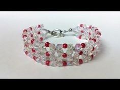 How to make an easy bracelet at home. This bracelet is one of those things that will never go out of style. This classic bracelet design combines 4 mm crystal bicones and seed beads 110 and red seed beads beads . Beaded Bracelets Tutorial, Beaded Bracelet Patterns, Jewelry Patterns, Bracelet Designs, Handmade Bracelets, Bead Jewellery, Beaded Jewelry, Diy Jewelry, Jewlery