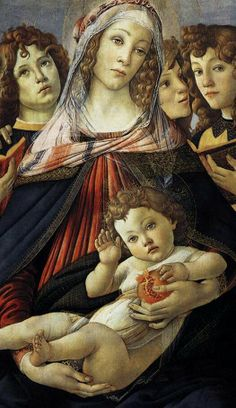 Madonna of the Pomegranate by Sandro Botticelli. In the Uffizi Gallery, Florence. Giorgio Vasari, Religious Images, Religious Art, Italian Renaissance, Renaissance Art, Renaissance Paintings, Italian Painters, Italian Artist, Madonna And Child